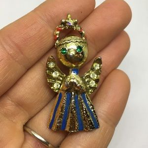 Angel pin brooch gold tone with blue